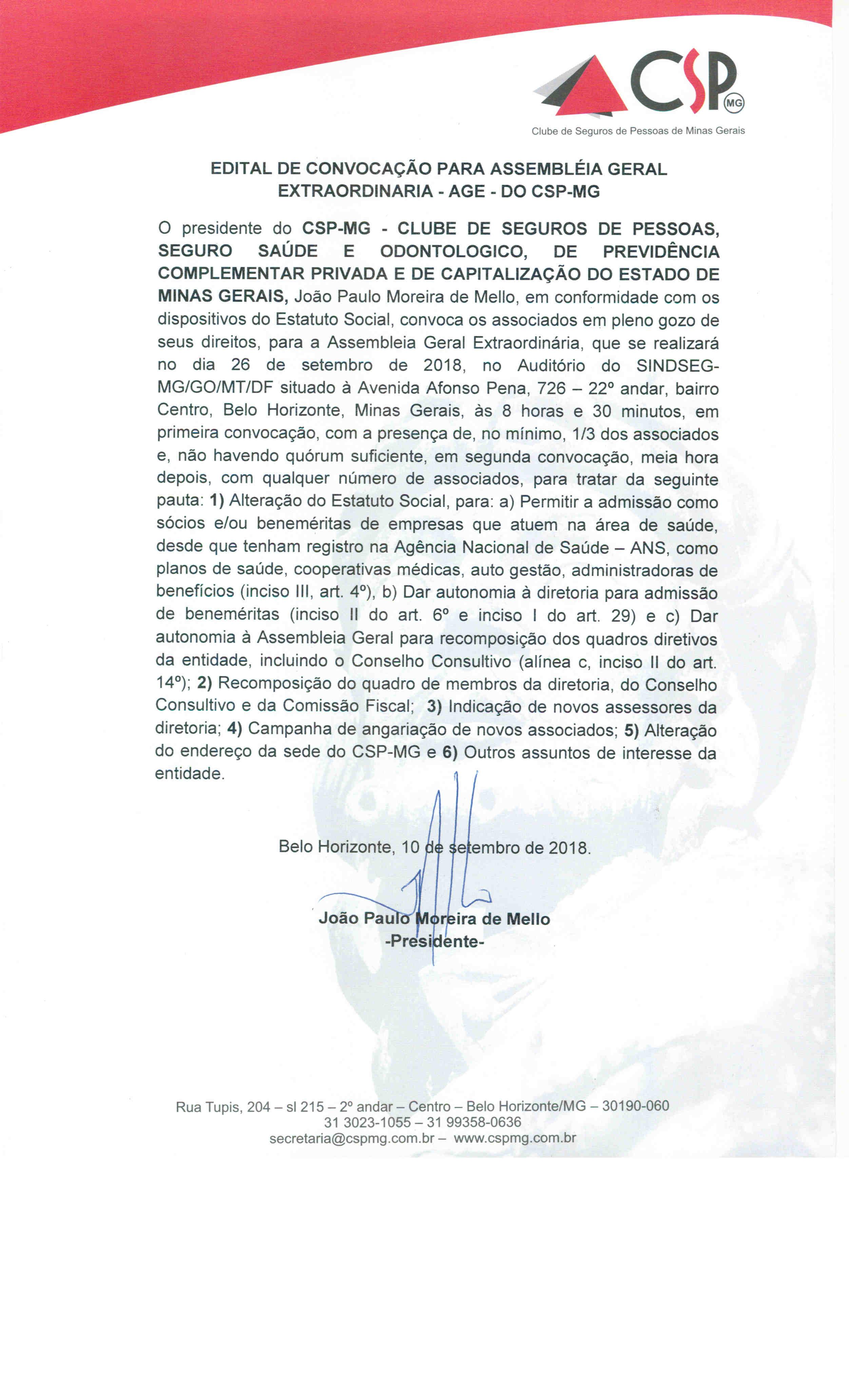 EDITAL DE CONVOCAÇÃO - AGE