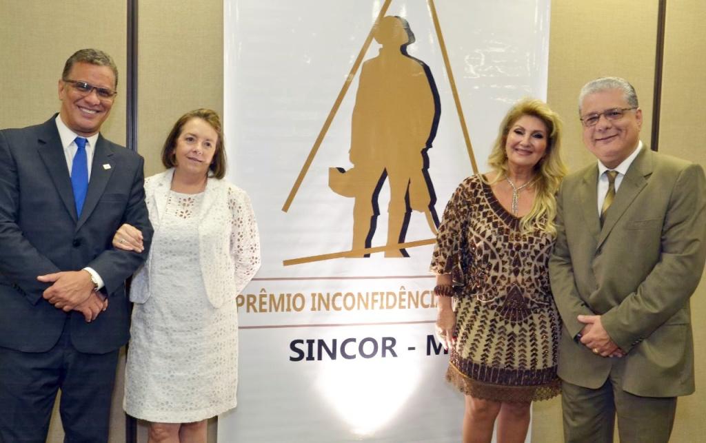 Augusto Matos (SindSeg), Maria Filomena (Sincor-MG), Carmem Ribeiro (Clubcor-MG) e João Paulo Mello (CSP-MG)