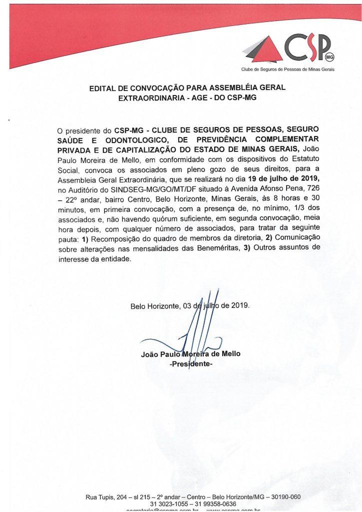 Convocação para Assembleia Geral Extraordinária no dia 19/07